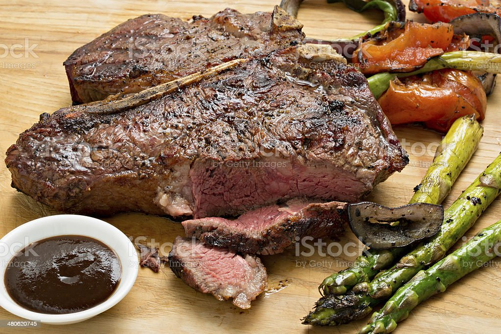 Barbecue Steak And Sauce stock photo