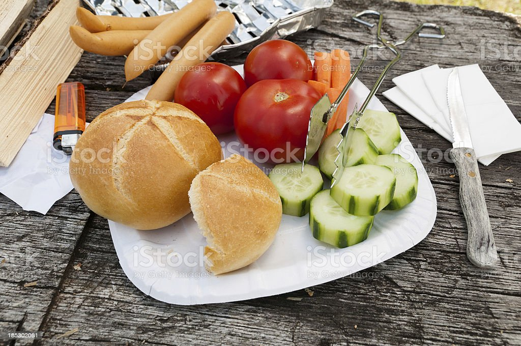 Barbecue stuff on a rustic wooden table stock photo