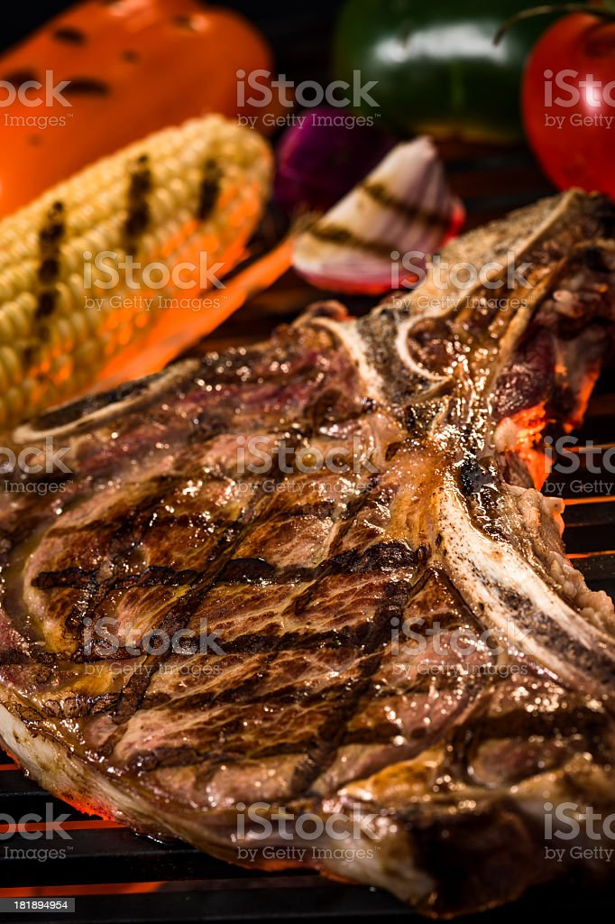 Barbecue T-Bone Steak with Vegetables royalty-free stock photo