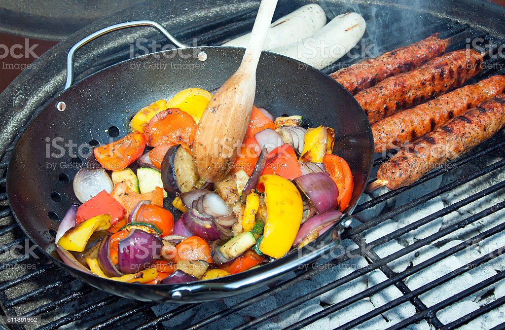 Barbecue Vegetables and Kebabs on Hot Coals stock photo