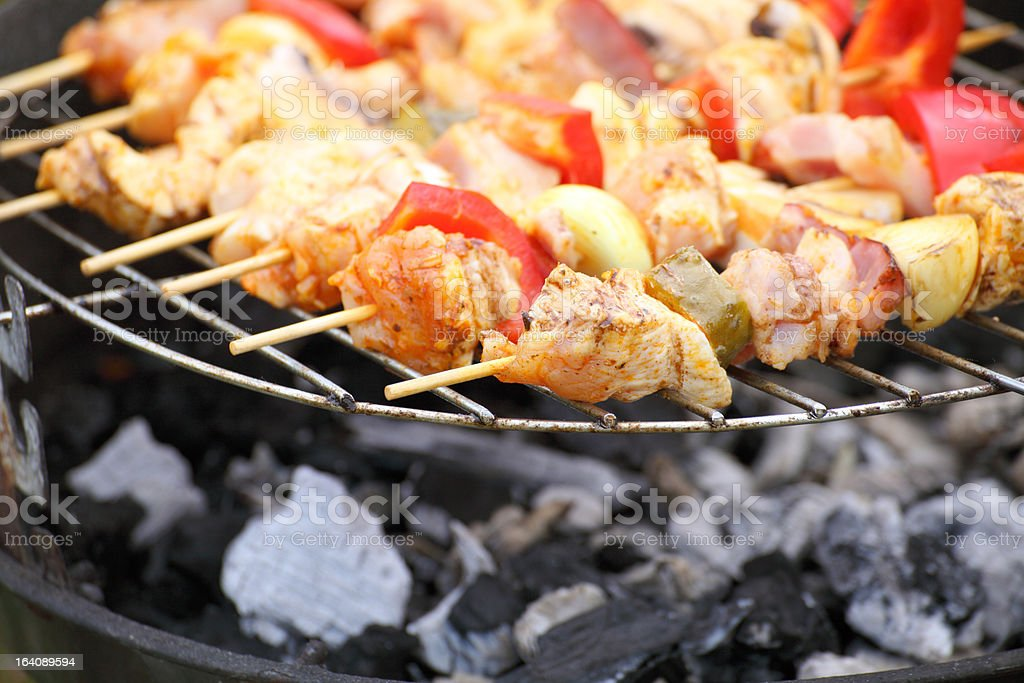 Barbecue with delicious grilled meat on grill royalty-free stock photo
