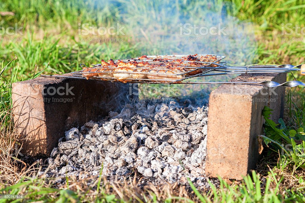 Barbecue with delicious grilled meat on the improvised oven stock photo
