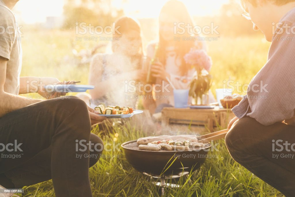 barbecue with friends stock photo