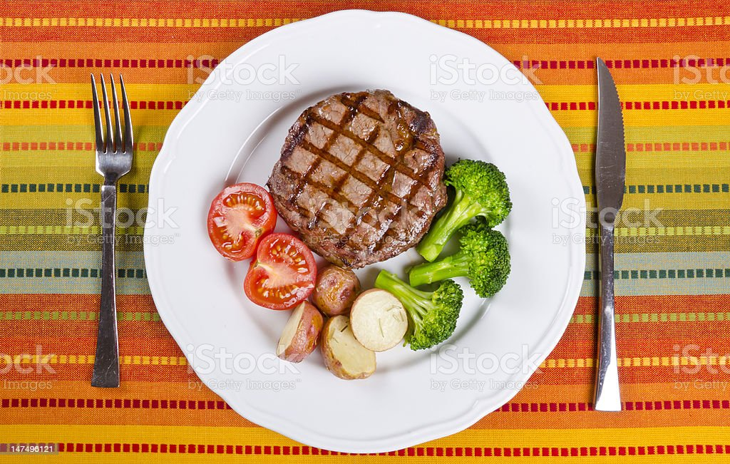 Barbecued Beef Rib Eye Steak Served with Vegetables royalty-free stock photo