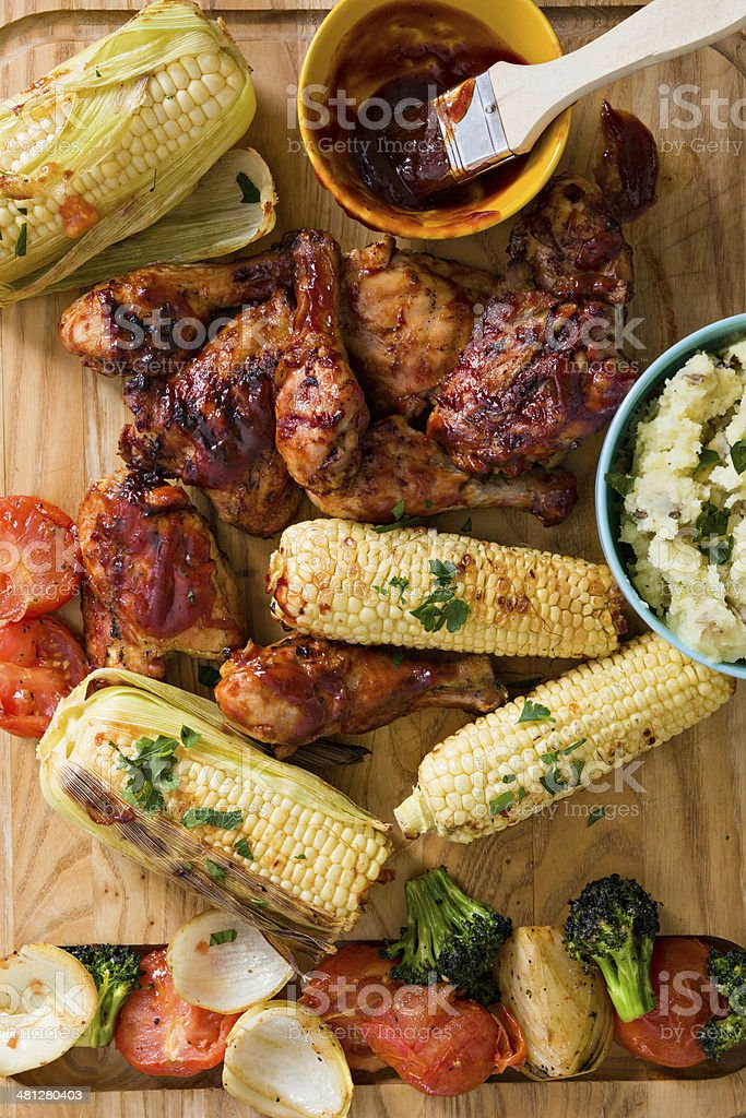 Barbecued Chicken Dinner royalty-free stock photo