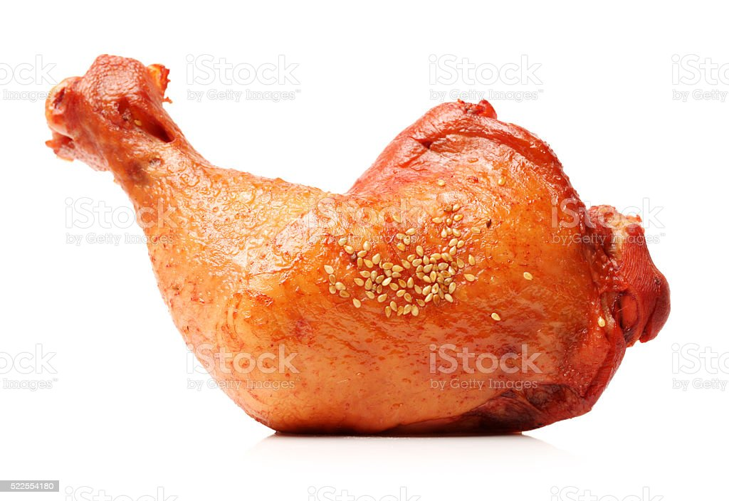 Barbecued chicken leg stock photo