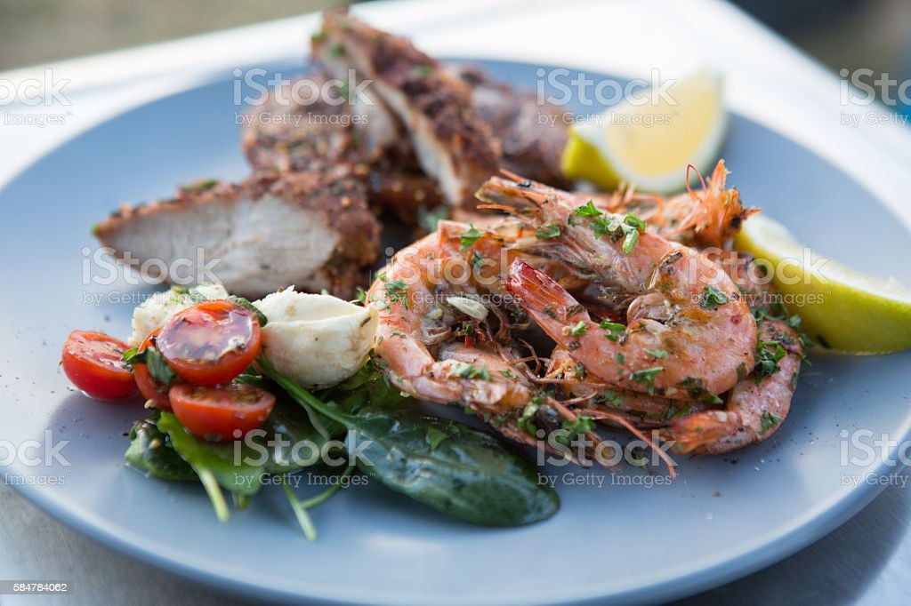 Barbecued Prawns stock photo
