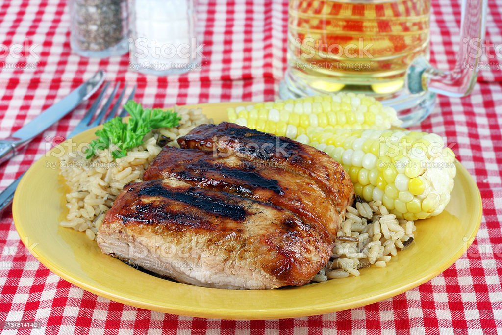 Barbecued Spare Ribs, Corn and Rice royalty-free stock photo