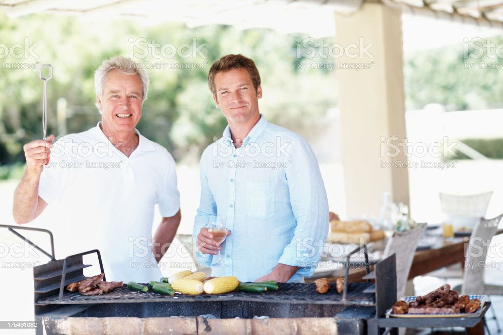 Barbecuing is a man's job! royalty-free stock photo