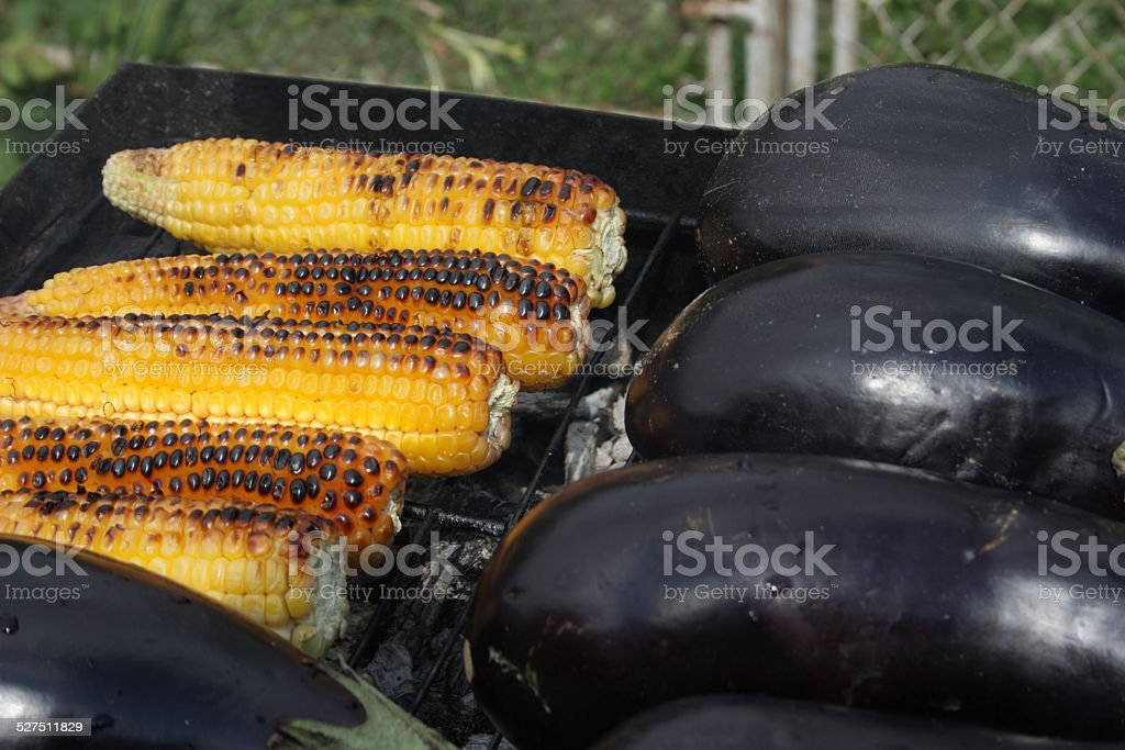 Barbecuing vegetables on charcoal fire closeup image. stock photo