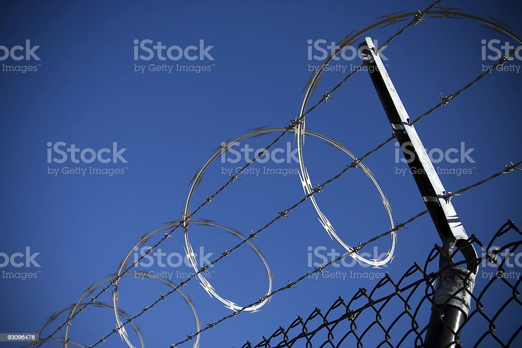 Barbed Razor Wire Security Fence royalty-free stock photo
