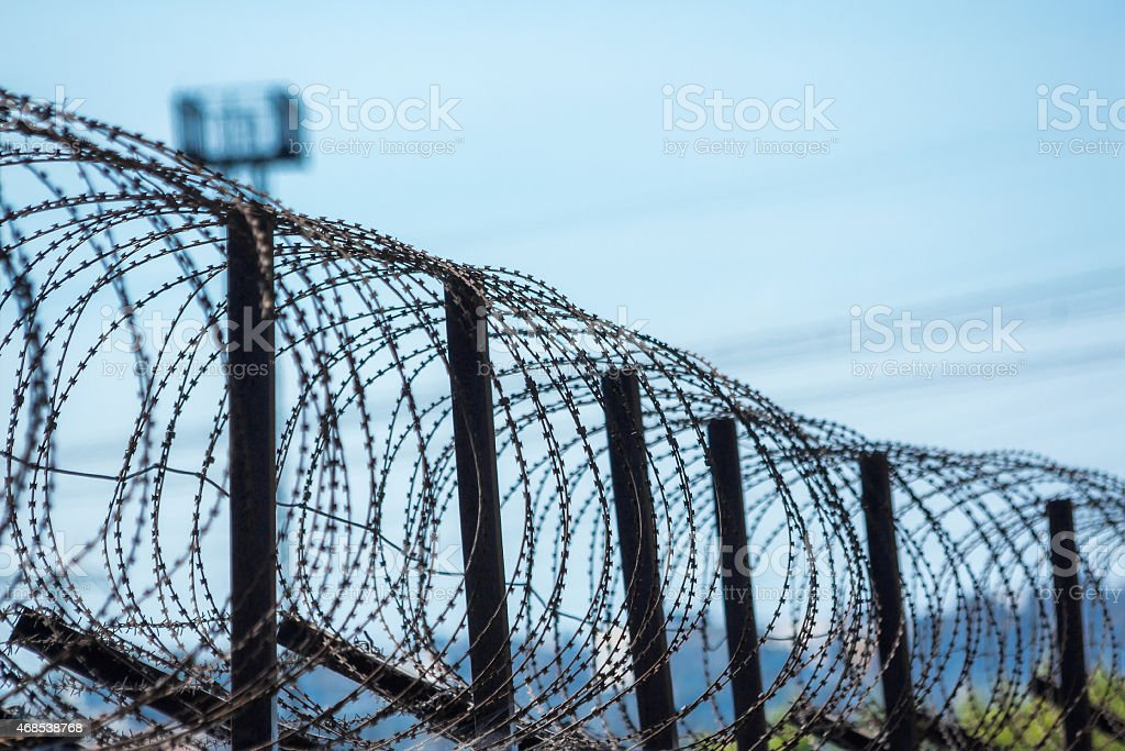 Barbed tape stock photo