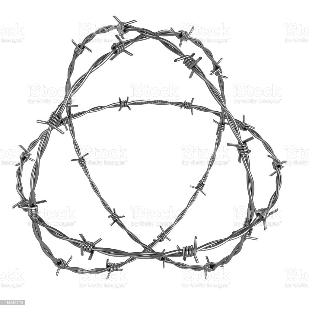 barbed wire 3d illustration stock photo
