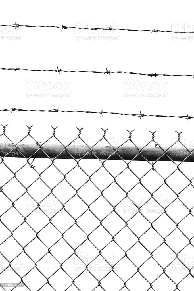 Barbed Wire And Chain Link Fence Section Cut Out royalty-free stock photo