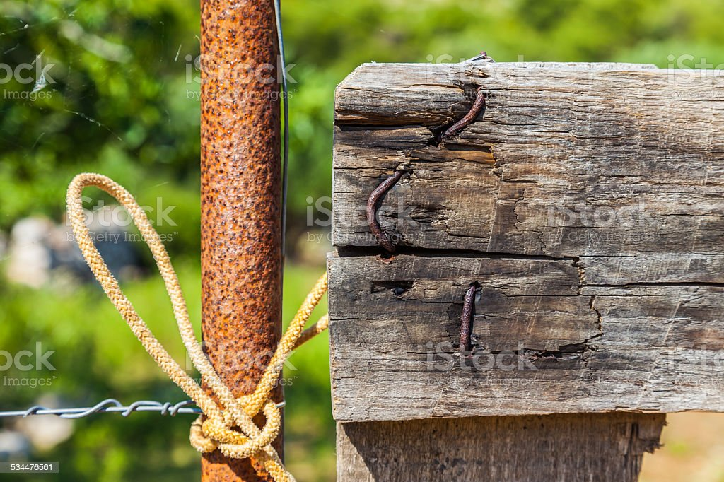Barbed wire and old fence in little island at Croatia stock photo