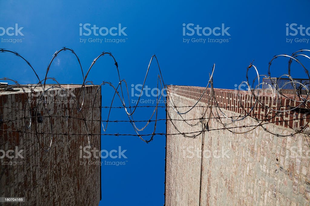 Barbed wire and the blue sky royalty-free stock photo
