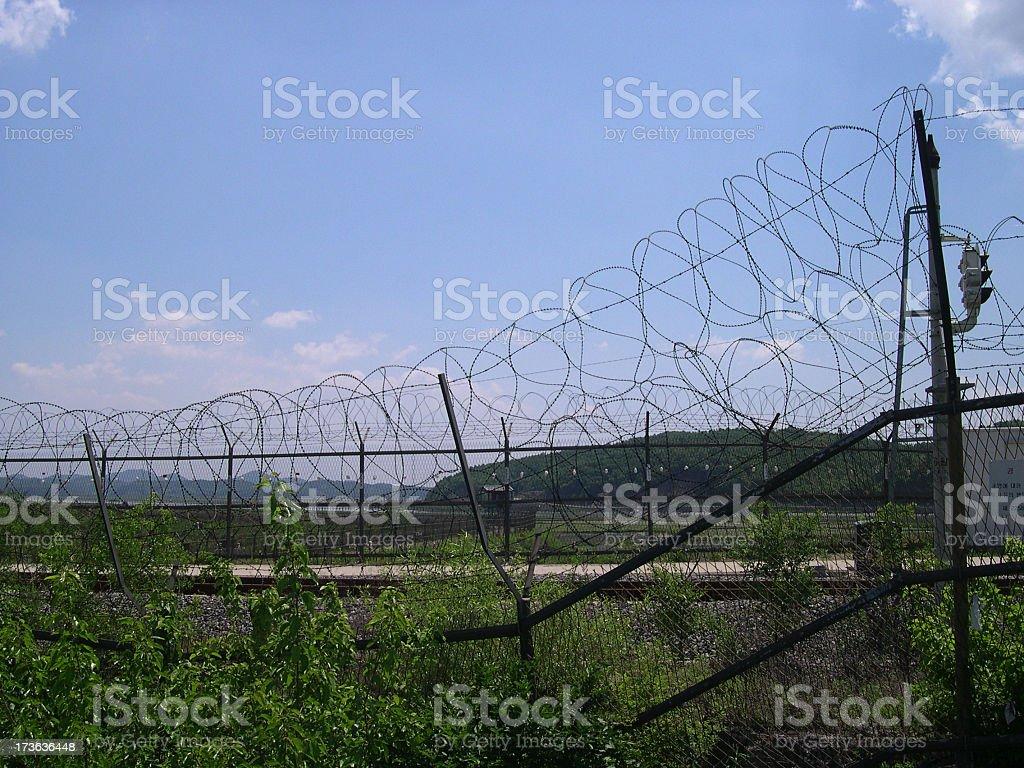 Barbed Wire at Korea's DMZ stock photo
