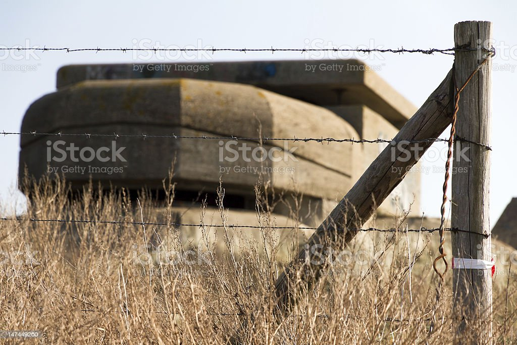 Barbed wire bunker royalty-free stock photo