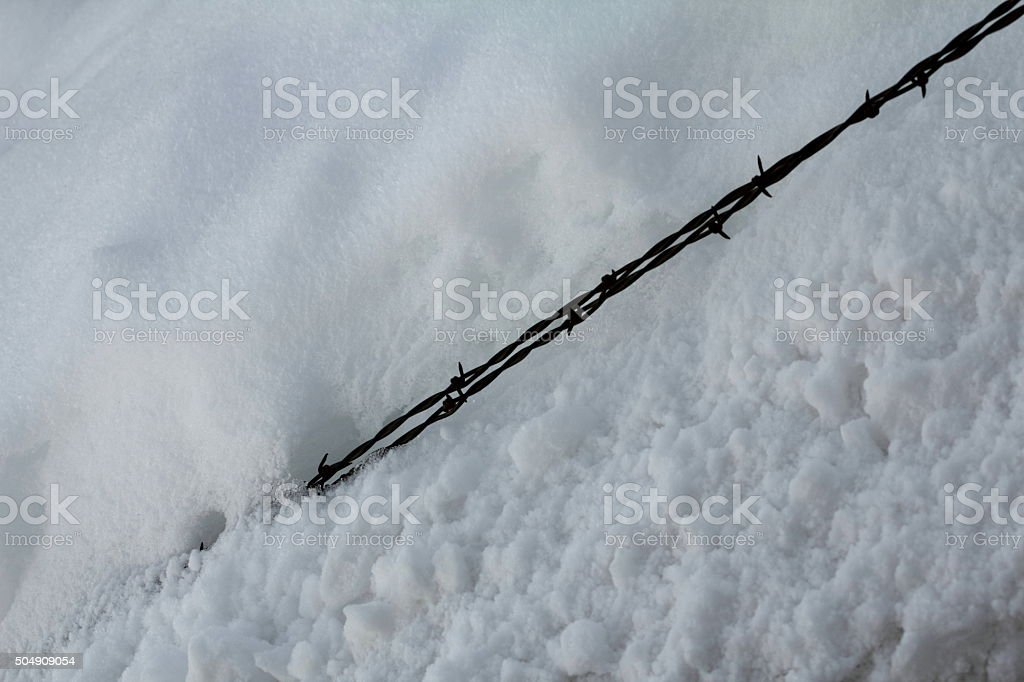 Barbed wire coming out of snow, diagnal stock photo