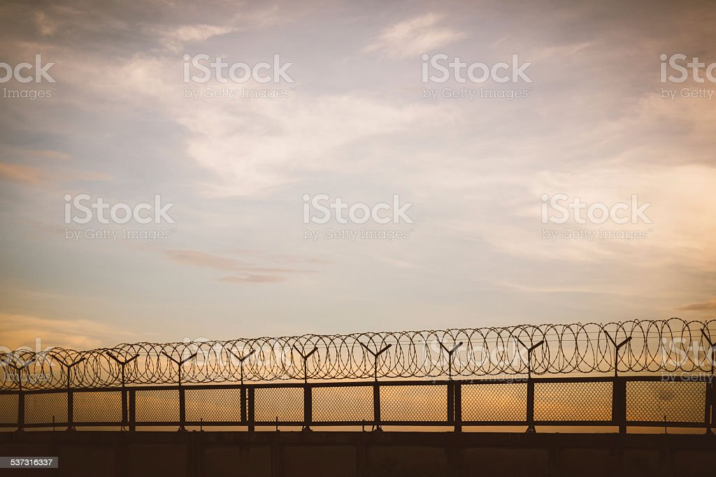 barbed wire fence at sunset stock photo