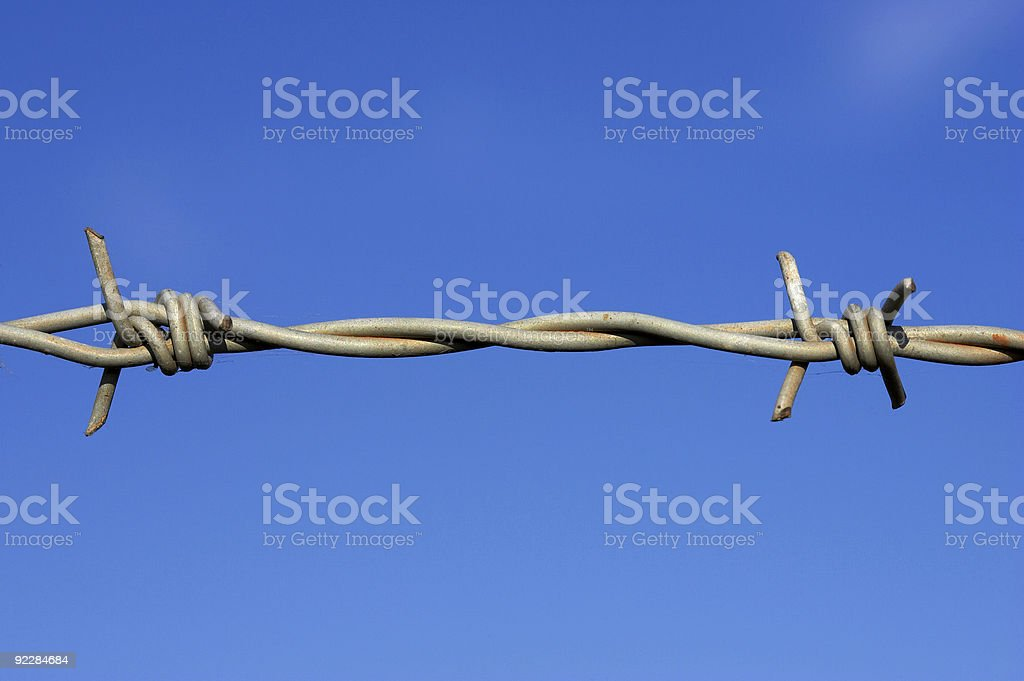 Barbed wire fence detail royalty-free stock photo
