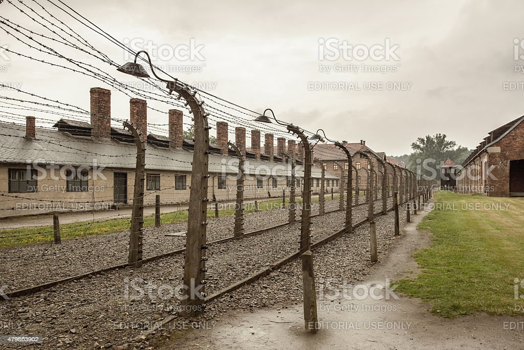 Barbed wire fence in Auschwitz I. concentration camp stock photo