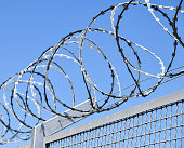 Barbed wire fence of the prison