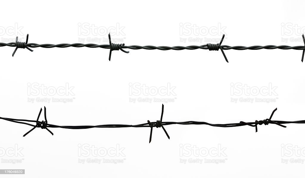 Barbed wire isolated on white royalty-free stock photo