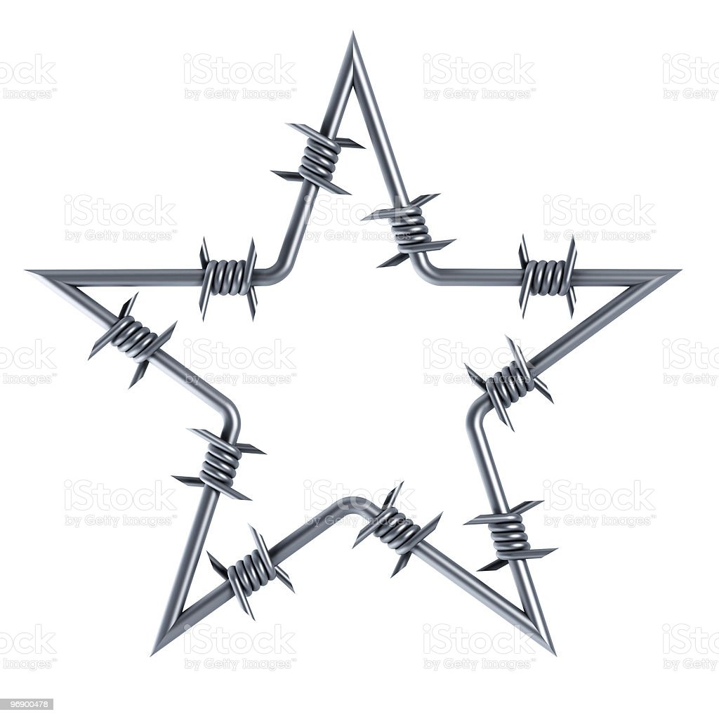 barbed wire star-shaped stock photo