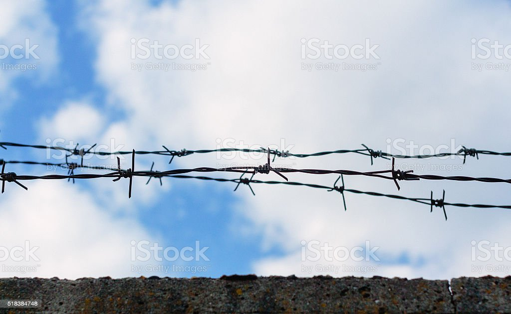 Barbed wire wall stock photo