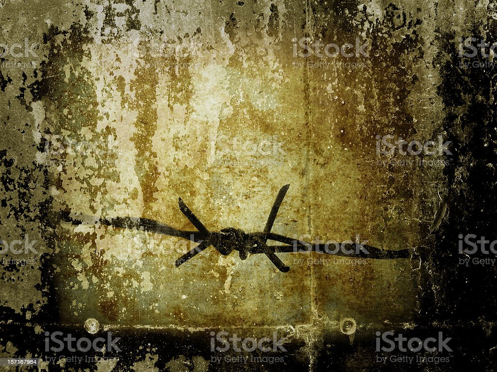 Barbed wire with grunge effect stock photo