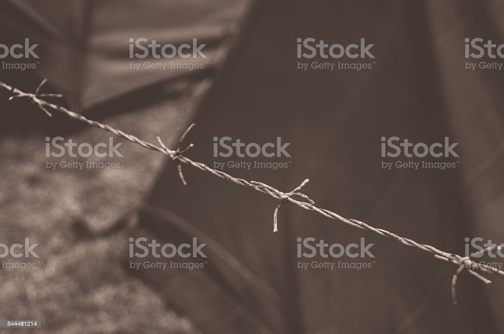 Barbed wire with tent in the background stock photo