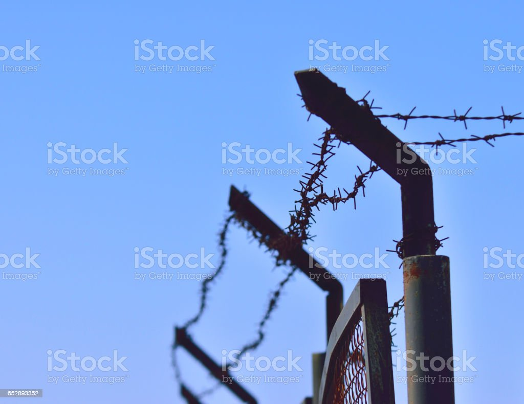 barbed wires against blue sky stock photo