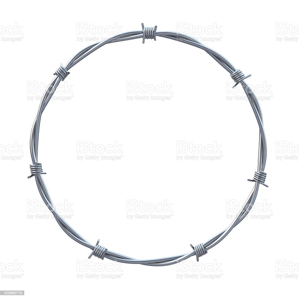 barbed wires in circle shape 3d illustration stock photo