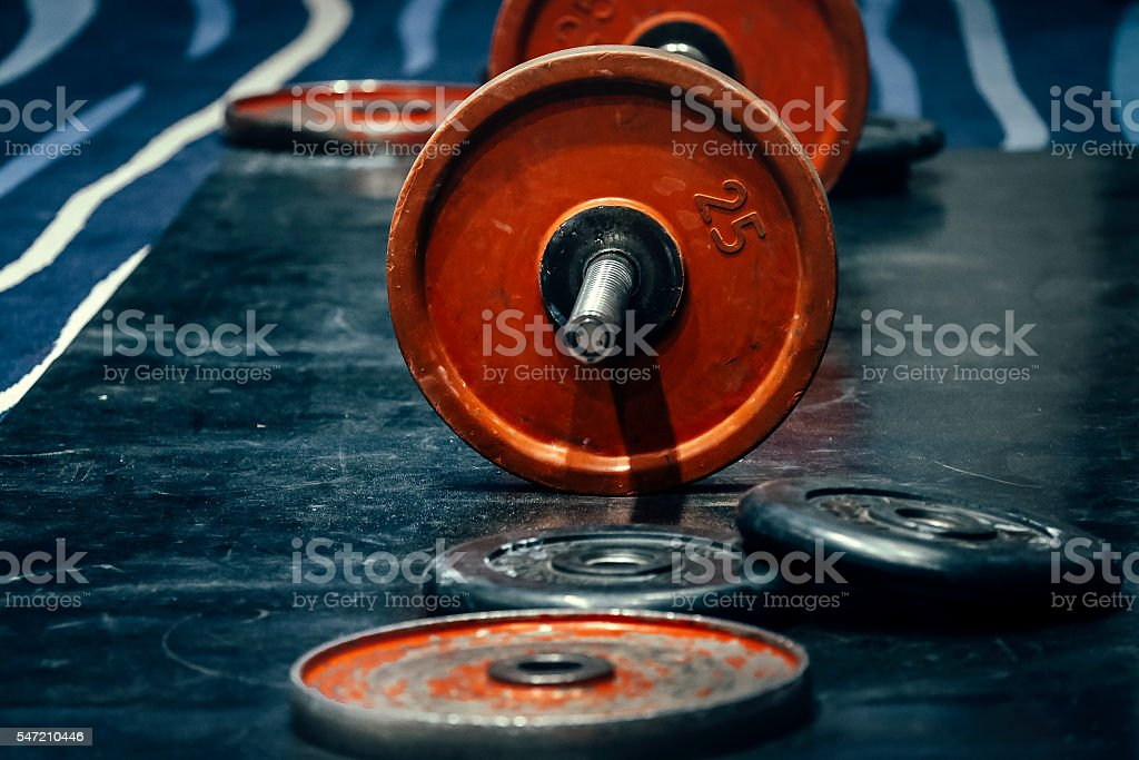 barbell and discs in gym royalty-free 스톡 사진