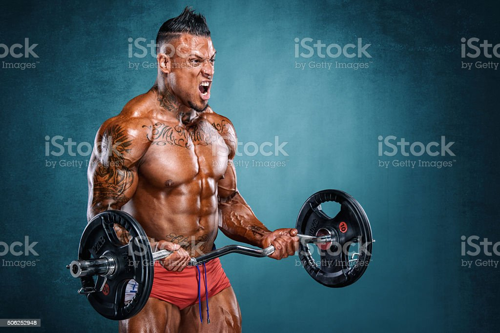 Barbell Biceps Curls stock photo