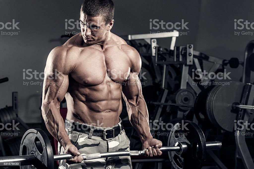 Barbell Curls stock photo