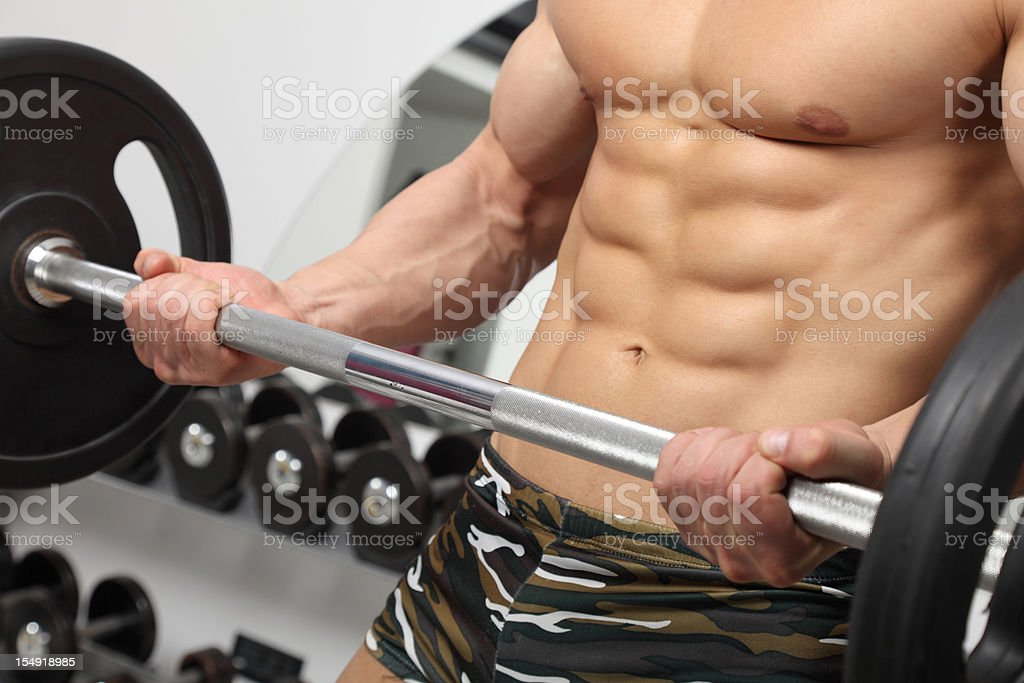 Barbell exercising royalty-free stock photo