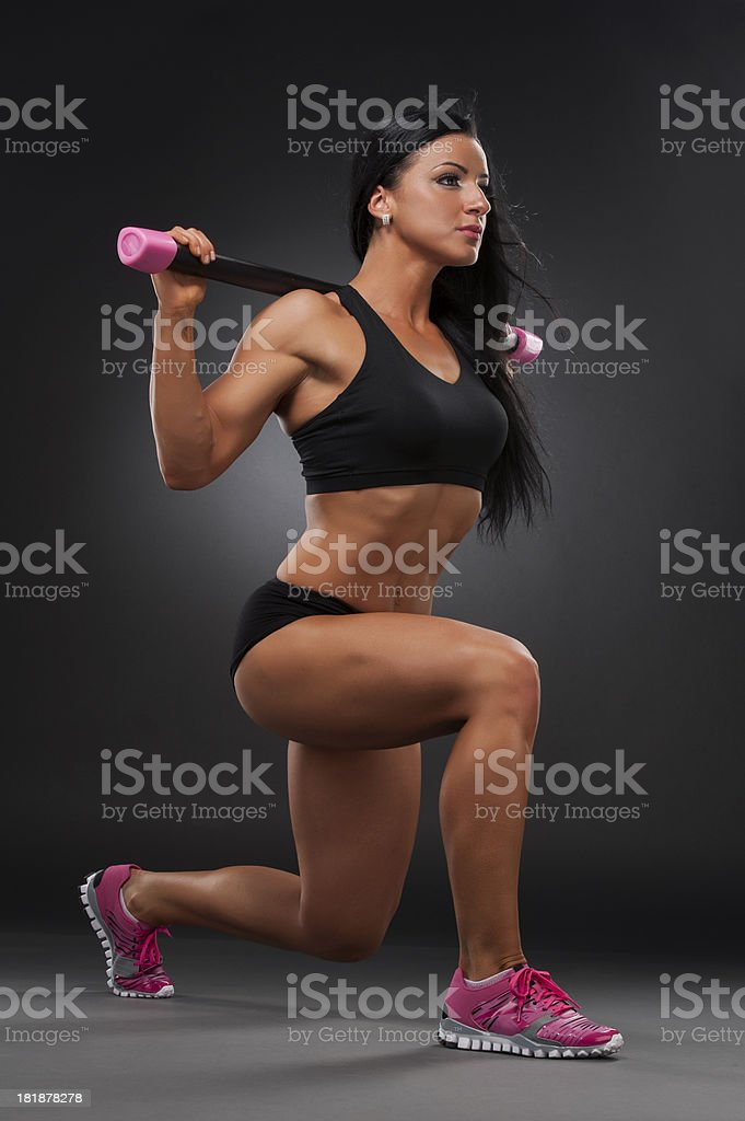 Barbell Lunges royalty-free stock photo