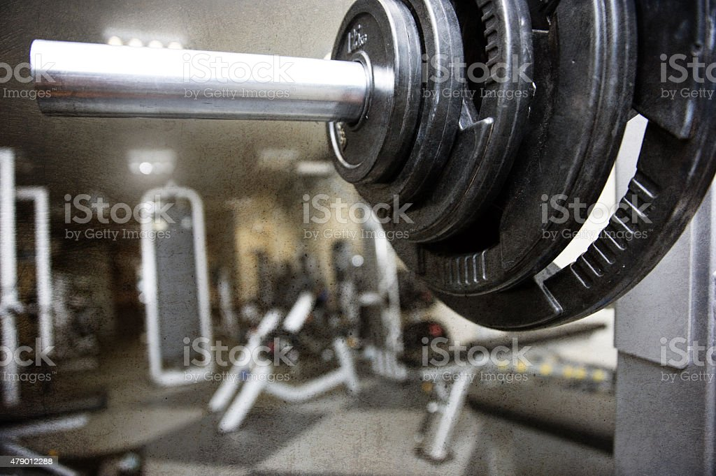 Barbell on a gym stock photo
