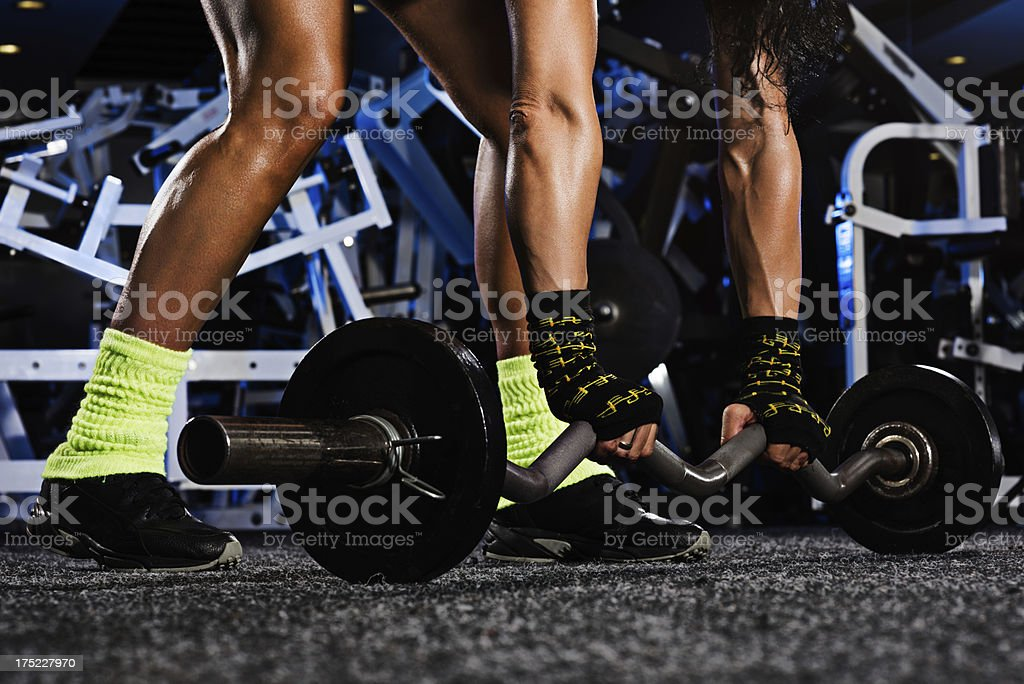 Barbell on the floor royalty-free stock photo