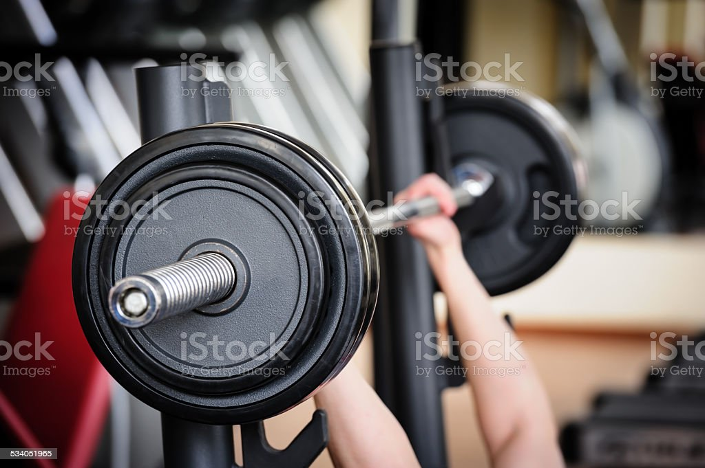 Barbell ready to workout stock photo