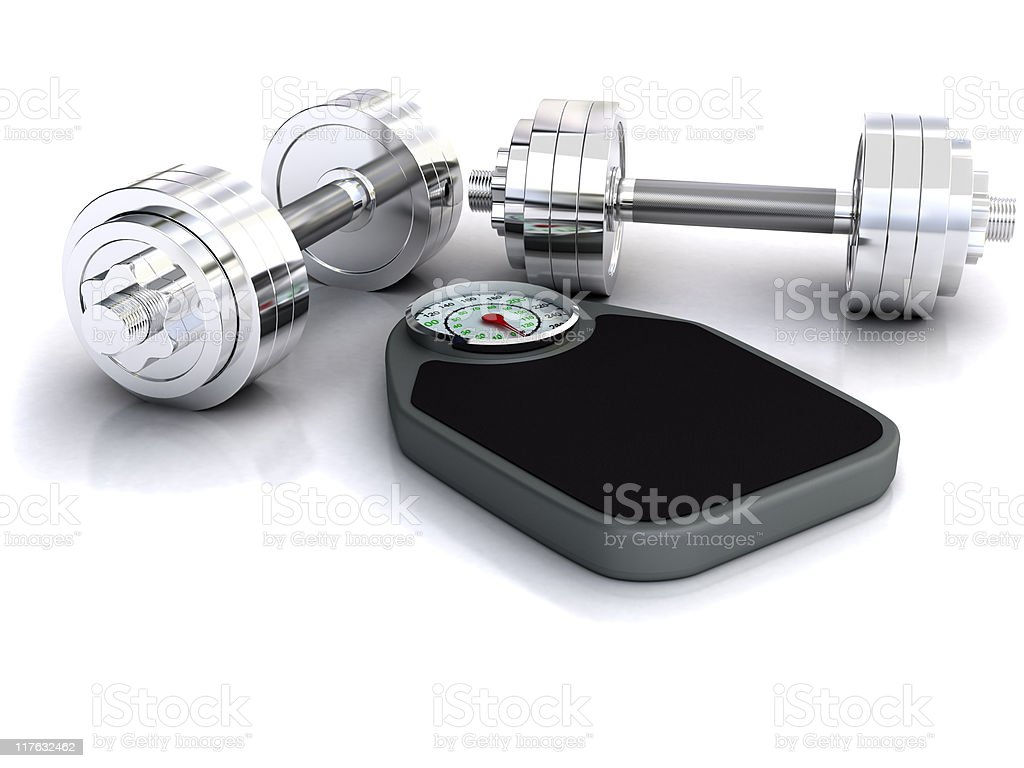 Barbells and Bathroom Scale royalty-free stock photo