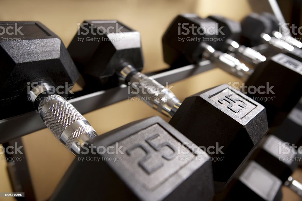 Barbells set at indoor gym royalty-free stock photo