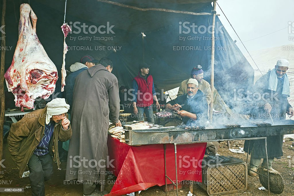 Barbeque at Food Market in Azrou Morocco Africa royalty-free stock photo