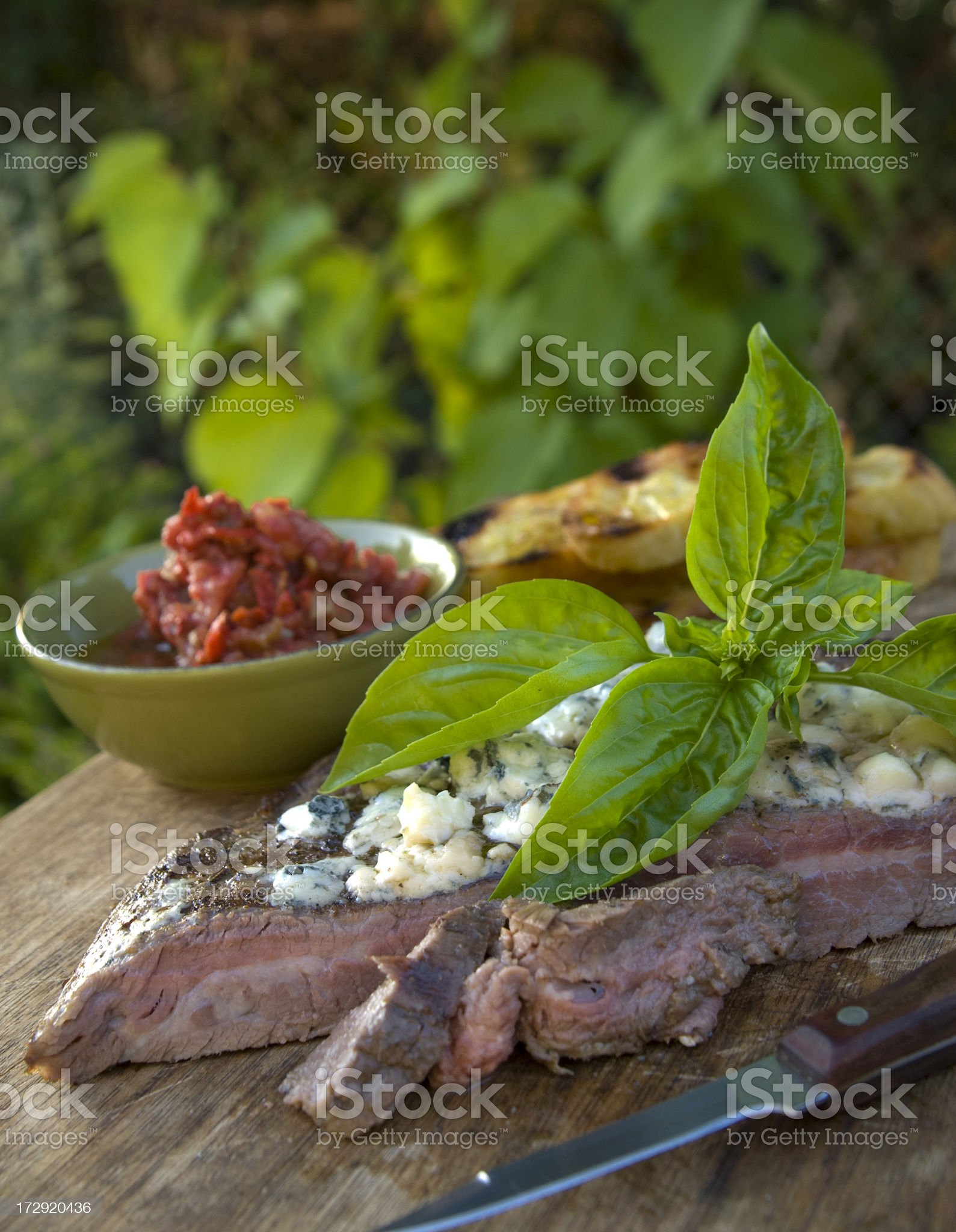 Barbeque Grilled Flank Steak Sandwich Ingredients and Salsa royalty-free stock photo