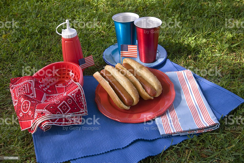 Barbeque Hot Dog Picnic, Labor & Memorial Day & Fourth of July royalty-free stock photo