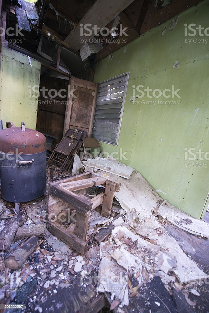 Barbeque in a Destroyed Home stock photo
