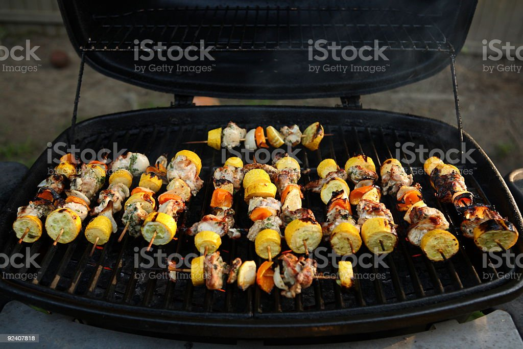 Barbeque - kabobs on the grill royalty-free stock photo
