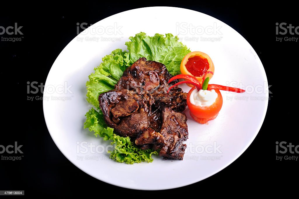 Barbeque Lamb Chops with Vegetables and Sauce, Selective Focus stock photo
